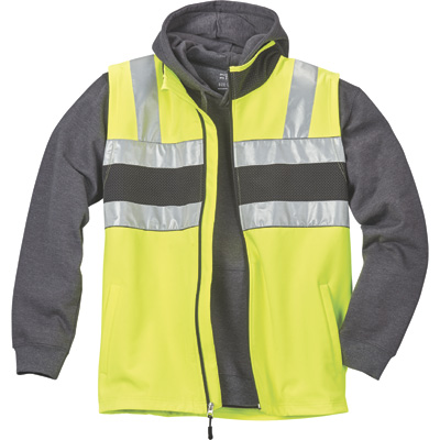 FREE SHIPPING — Gravel Gear HV Men's Class 2 High Visibility 8-Oz. Softshell Vest — Lime, Large