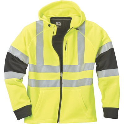 FREE SHIPPING — Gravel Gear Men's Class 3 High Visibility 9.4-Oz. Full-Zip Hoodie — Lime, Medium