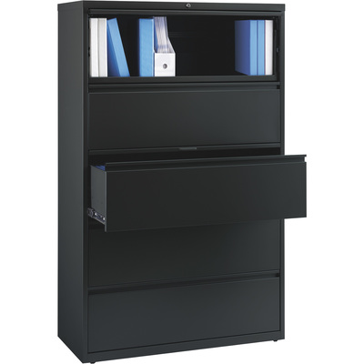 Hirsh Industries 5-Drawer Cabinet for Letter-, Legal- or A4-Size Folders — Black, 42in.W  x 18.63in.D x 67.63in.H, Model# 17649