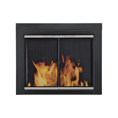 Pleasant Hearth Alsip Fireplace Glass Door — For Masonry Fireplaces, Large, Black with Satin Nickel Trim, Model# AP-1132