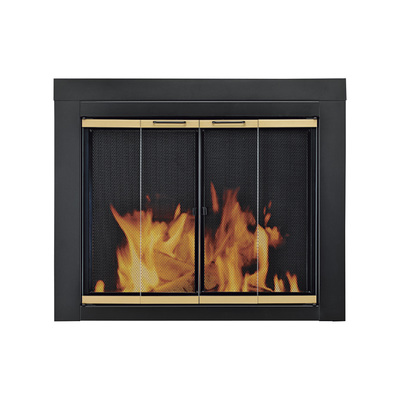 """Pleasant Hearth Arrington Fireplace Glass Door - For Masonry Fireplaces, Small, Black/Gold Finish, Model# AP-1020"""