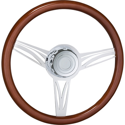 Roadmaster 18in. Steering Wheel with Boss Kit and Horn Button — Fits Kenworth Trucks, Wood Finish with UV Protected Chrome Spokes, Model# 29525-CLASSIC