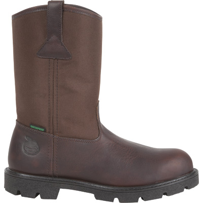 Georgia Homeland Waterproof 11in. Steel Toe Pull-On Work Boots — Brown, Size 10 1/2, Model# G111
