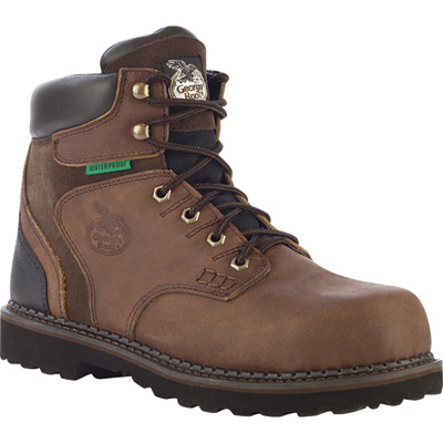 FREE SHIPPING — Georgia Men's 6in. Brookville Waterproof Work Boots - Brown, Size 9, Model# G7134