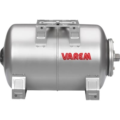 Varem Pre-Charged Horizontal Pressure Tank — 5.3 Gal., 120 PSI, Stainless Steel, Model# V2H0760S40BP000