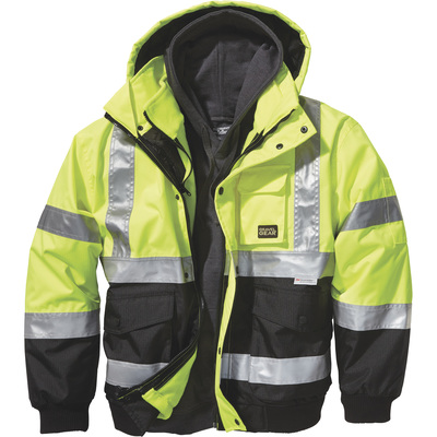 FREE SHIPPING — Gravel Gear Men's Class 3 High Visibility 3-in-1 Bomber Jacket with  3M™ Scotchlite™ Reflective Material — Lime, 3XL