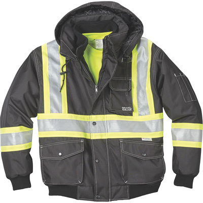 FREE SHIPPING — Gravel Gear Men's Class 1 High Visibility 3-in-1 Bomber Jacket with 3M Scotchlite — Lime, Medium