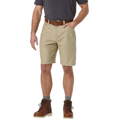 FREE SHIPPING — Gravel Gear Men's Flex Wear 10in. Brushed Twill Work Shorts with Teflon Fabric Protector — Khaki, 32 Waist