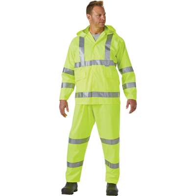 West Chester Protective Gear Men's High Visibility Class 3 Rain Suit with 3M Scotchlite Reflective Material — Lime, Medium, Model# 44033/L