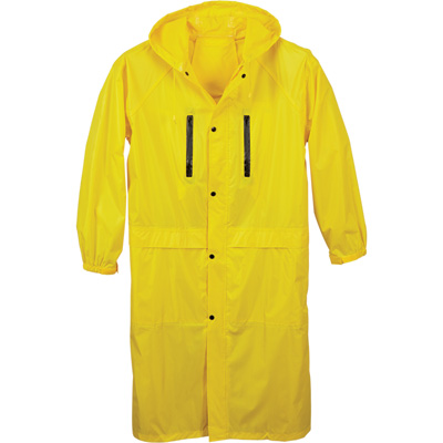 West Chester Men's Protective Gear 48in.L Polyester Rain Jacket - Yellow, Large, Model# 44917/L