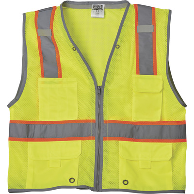 FREE SHIPPING — Gravel Gear Men's Class 2 High Visibility Heavy-Duty 6-Pocket Vest — Lime, 3XL