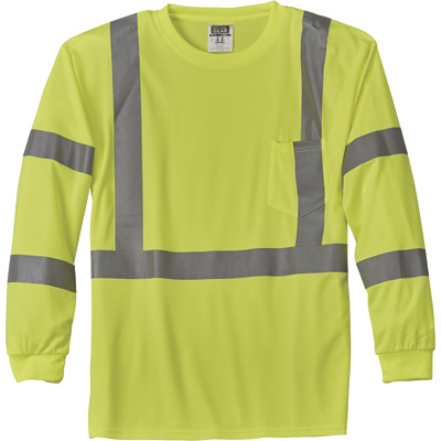 FREE SHIPPING — Gravel Gear HV Men's Class 3 High Visibility High-Performance Long Sleeve T-Shirt — Lime, 3XL