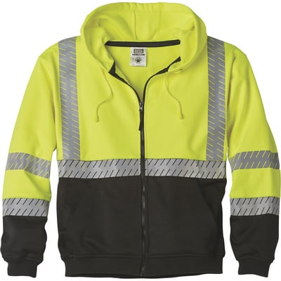 FREE SHIPPING — Gravel Gear Men's Class 3 Heavyweight Hooded Safety Sweatshirt — Lime, Large