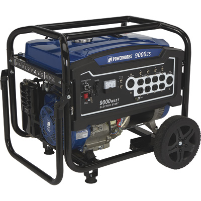 Powerhorse Portable Generator — 9000 Surge Watts, 7250 Rated Watts, Electric Start