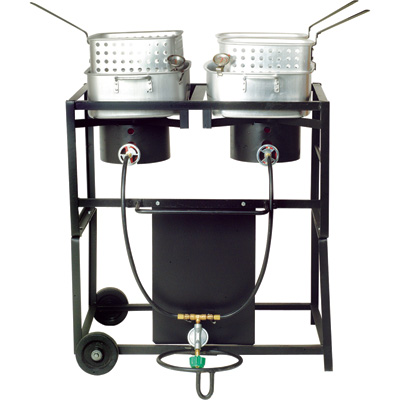 King Kooker Frying Cart with Fry Pans — Dual Burners, 54,000 BTU/ea., Model# KKDFF30T