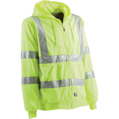 Berne Men's Class 3 High Visibility Hooded Sweatshirt — Lime, 3XL