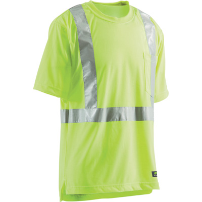 Berne Men's Class 2 High Visibility Short Sleeve Safety T-Shirt — Lime, XL/Tall, Model# HVK002YW