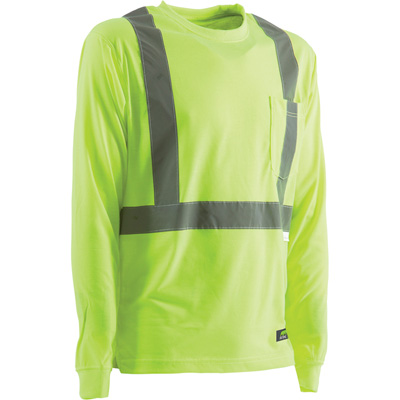 Berne Men's Class 2 High Visibility Long Sleeve Safety T-Shirt —Lime, Large/Tall, Model# HVK003YWBT