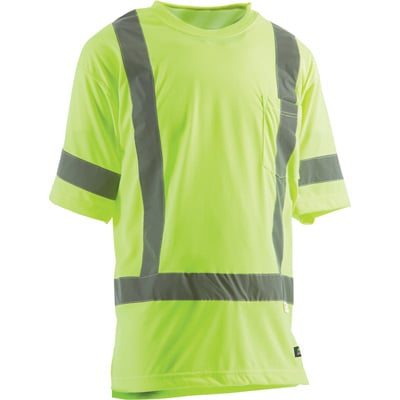 Berne Men's Class 3 High Visibility Short Sleeve Safety T-Shirt — Lime, Model# HVK007YW