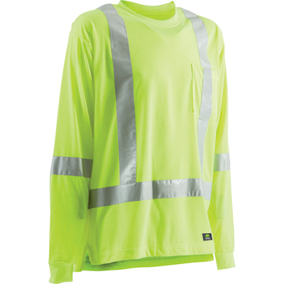 Berne Men's Class 3 High Visibility Long Sleeve Safety T-Shirt — Lime, Large/Tall, Model# HVK008YW