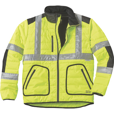 FREE SHIPPING — Gravel Gear Men's Class 3 High Visibility Quilted Jacket with 3M Reflective Tape — Lime, XL