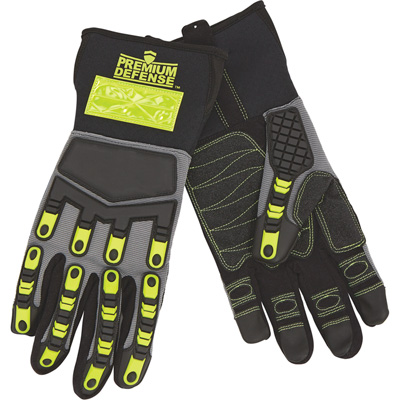Premium Defense™ High Visibility Impact-Resistant Work Gloves — Black/High Visibility Lime