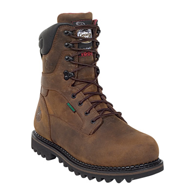 FREE SHIPPING — Georgia Men's 9in. Insulated Waterproof Work Boots - Brown, Size 8 Wide, Model# G8162
