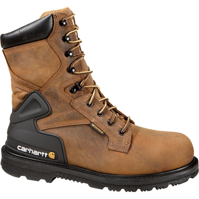 Carhartt Men's 8in. Waterproof Steel Toe Work Boots - Bison Brown, Size 12, Model# CMW8200