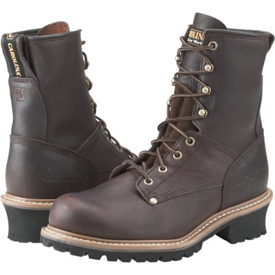 Carolina Men's 8in. Logger Work Boots - Brown, Size 8 1/2 Wide, Model# 821