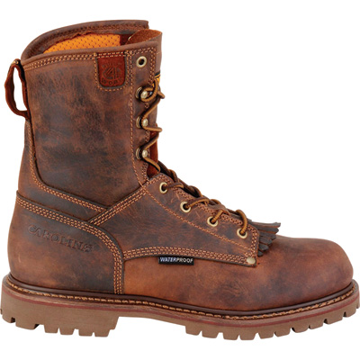FREE SHIPPING — Carolina Men's 8in. Waterproof Composite Toe Work Boots - Brown, Size 12, Model# CA8528
