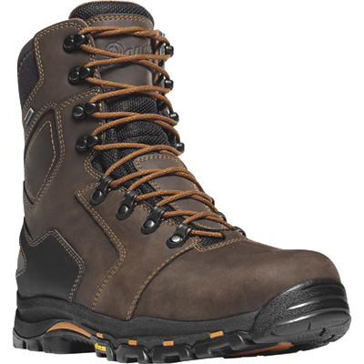 Danner Vicious 8in. Gore-Tex Waterproof Safety Toe Hiker Work Boots — Brown/Orange, Size 9, Model# 138687D