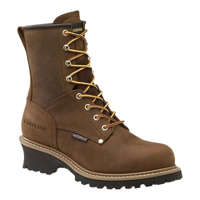 FREE SHIPPING — Carolina Men's Waterproof Logger Boots — 8in., Brown, Model# CA8821