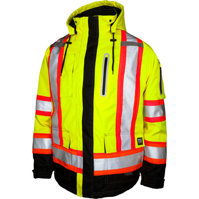 Work King Men's Class 3 High Visibility Waterproof  Safety Parka — Lime, Medium