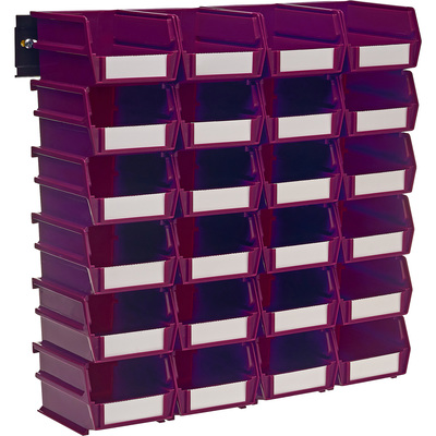 Triton LocBin 24-Pc. Bin Set with Wall-Mount Rails — Raspberry, 5 3/8in.L x 4 1/8in.W x 3in.H, Model# 3-210RBWS