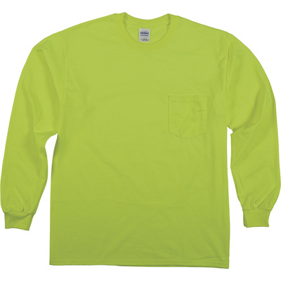 Gildan Men's Non-Rated High Visibility Long Sleeve Pocket T-Shirt — Lime, Large, Model# G2410