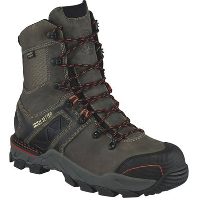 FREE SHIPPING — Irish Setter Crosby Men's 8in. Waterproof Nano Carbon Composite Safety Toe EH Work Boots - Gray, Size 9 1/2 Wide