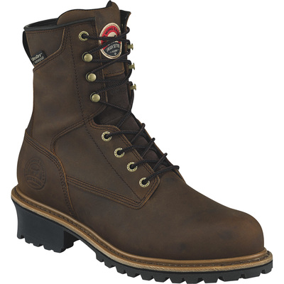 Irish Setter Mesabi Men's 8in. Waterproof Steel Toe EH Logger Boots — With 600g Primaloft Insulation — Brown, Size 12 Wide