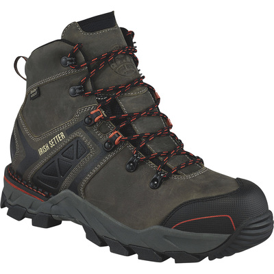 FREE SHIPPING — Irish Setter Crosby Men's 6in. Waterproof Nano Composite Safety Toe EH Work Boots - Gray/Rust, Size 9