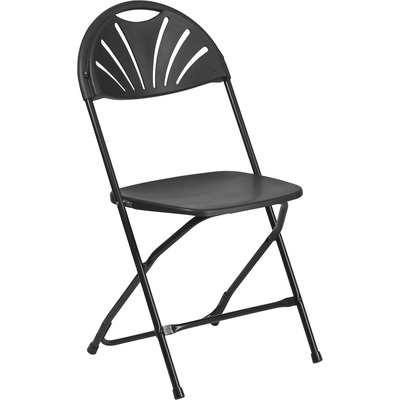 Flash Furniture Plastic Folding Chair with Fan Back,  17.5in.W x 21.25in.D x 35in.H