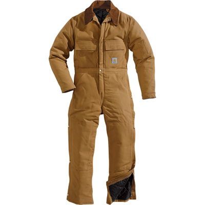 Carhartt Duck Arctic Quilt-Lined Coverall - Brown, 46 Chest, Tall Style, Model# X02