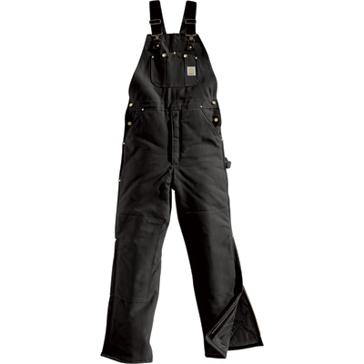 Carhartt Duck Arctic Quilt-Lined Bib Overall — Black, 34in. Waist x 30in. Inseam, Model# R03