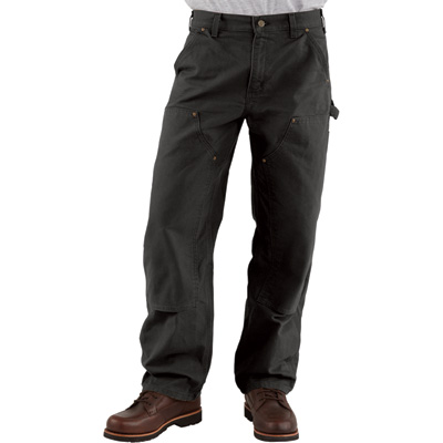 Carhartt Men's Double-Front Work Dungaree - 40in. Waist x 36in. Inseam, Black, Model# B136