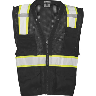 ML Kishigo Men's Enhanced Visibility Multi-Pocket Mesh Vest — Black, 2X/3X, Model# B100-2X-3X
