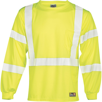 ML Kishigo Men's Class 3 FR Long Sleeve Economy T-Shirt — Lime, 3XL Tall, Model# F462