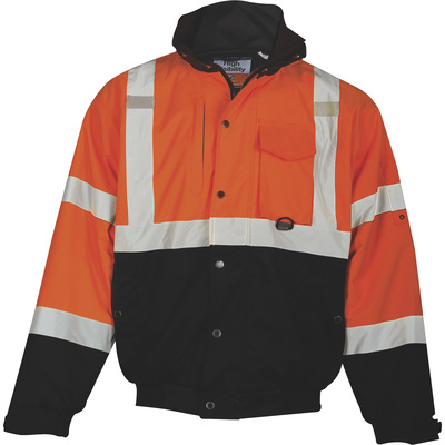 ML Kishigo Men's Class 3 Ripstop Bomber Jacket — Orange/Black, XL, Model# JS131-XL