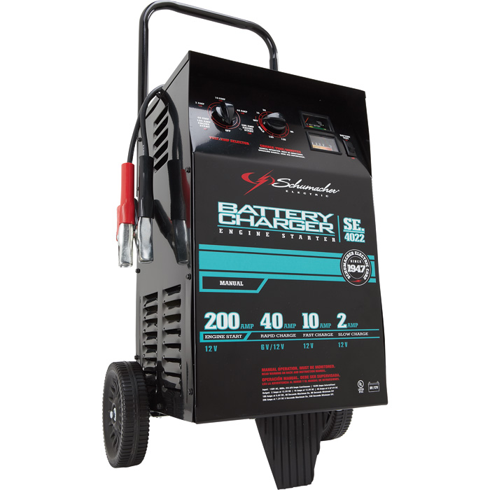1677826_700x700 schumacher wheeled battery charger with engine start 6 12 volt 400 Amp Battery Charger at creativeand.co