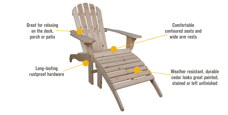 Features for Cedar Adirondack Chair with Ottoman, Model# CS-001KD-O