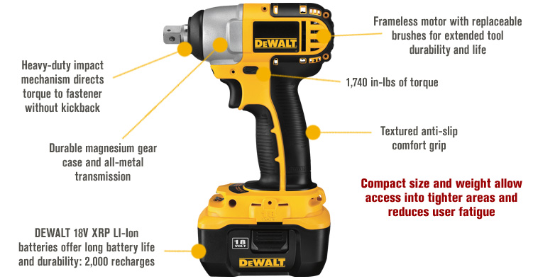 Features for FREE SHIPPING — DEWALT Cordless Impact Wrench with NANO Technology — 18V, 1/2in., Model# DC822KL
