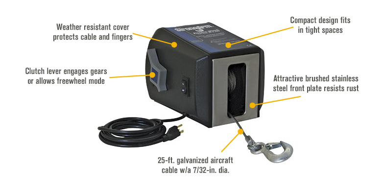 Features for Dutton-Lainson StrongArm 120V AC Electric Winch — 2700-Lb. Capacity, Model# SA9000AC