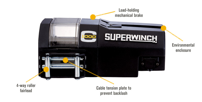 Features for Superwinch 12V DC Powered Electric Crane Winch — 1000-Lb. Capacity, Model# C1000